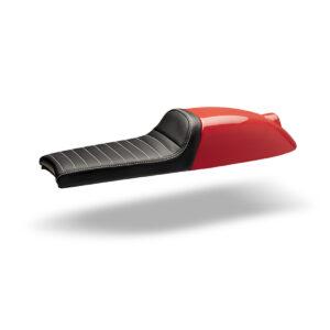 Asiento Cafe Racer rojo y cuero negro