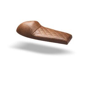 Asiento universal Cafe Racer clásico en cuero marrón sintético y cosido en diamante